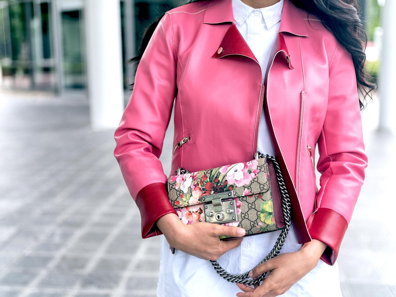 Pink Leather Jacket leder Jacke pink weißes hemd Fashionambit